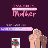 Câmara promove sessão solene em comemoração ao Dia Internacional da Mulher